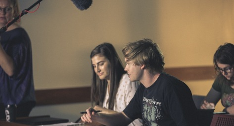 Actors Mia Cooke and Alistair Challis on set
