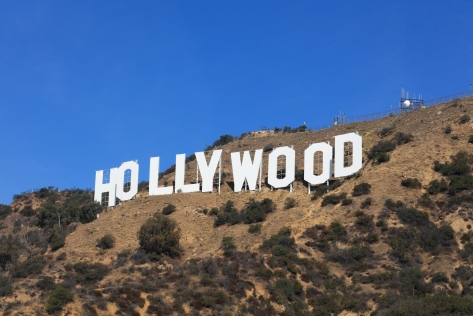 Hollywood Sign hillside closeup